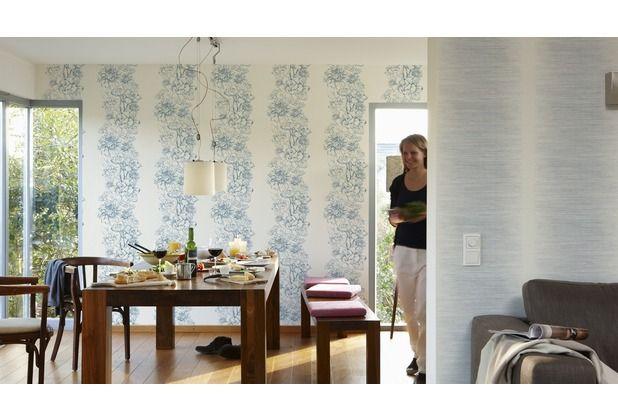 Blau Wohnzimmer Esszimmer Tapete Tapetenidee Design Style Blumen Floral Muster Ascreation Hertie As Creati Tapete Schwarz Weiss Tapeten Mustertapete