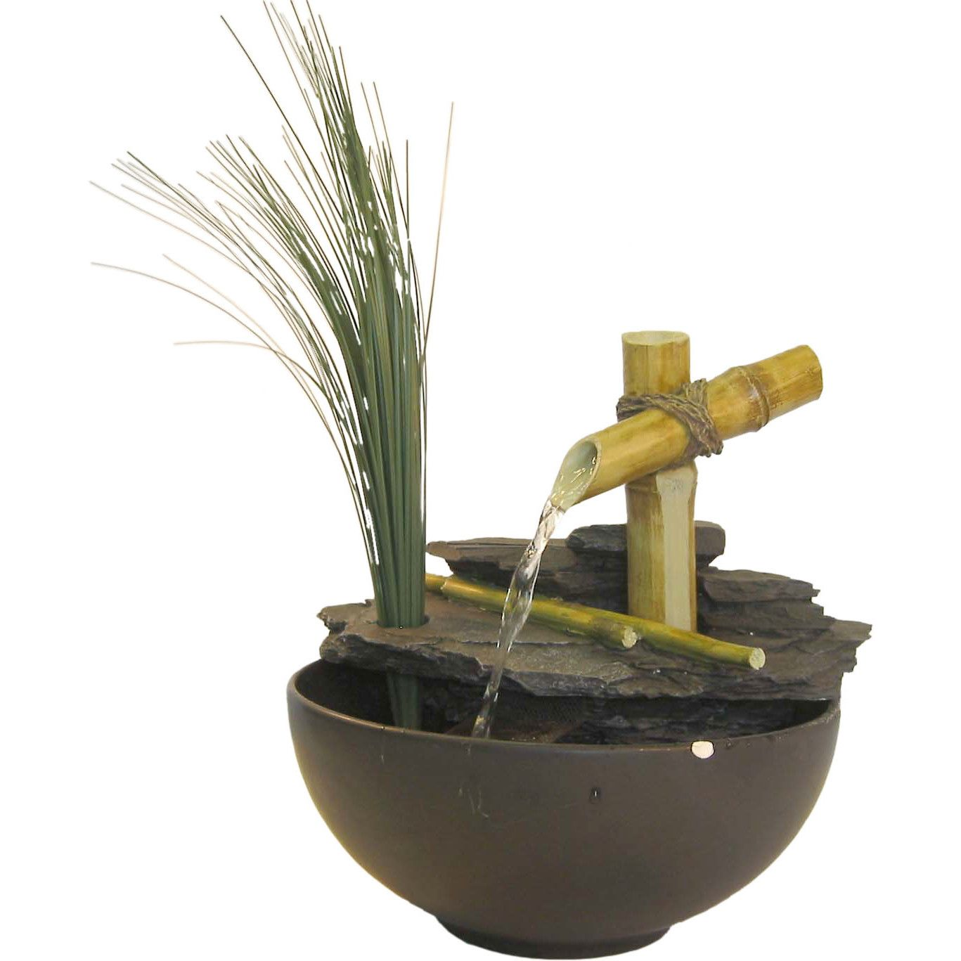 Alpine Eternity Bamboo and Leaf Tabletop Fountain