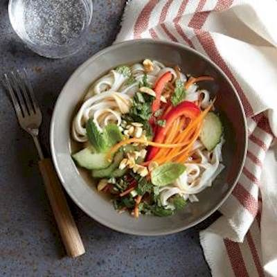 This is your chance to get a whole serving of vegetables in one delicious, low fat meal. These refreshing Thai noodles recipe calls for fresh mint, crunchy peanuts and tummy-soothing ginger. Perfection in a bowl, and one of many great dinner ideas involving fresh vegetables.