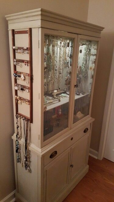 My Repurposed 1950s China Cabinet Now My Beautiful New Jewelry Armoire Jewelry Armoire Diy Repurposed Furniture Recycled Furniture