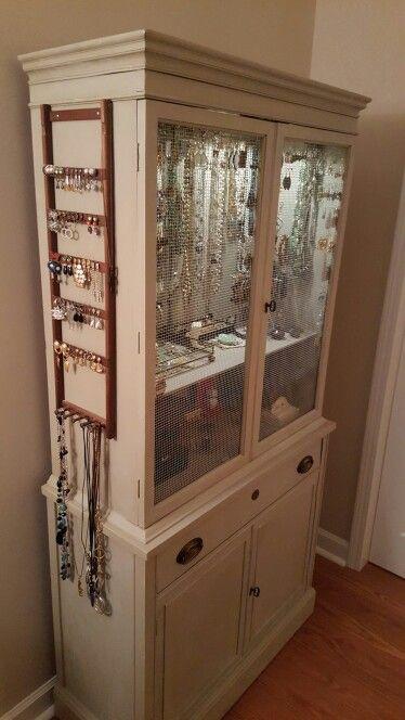My repurposed 1950s China cabinet now my beautiful new Jewelry