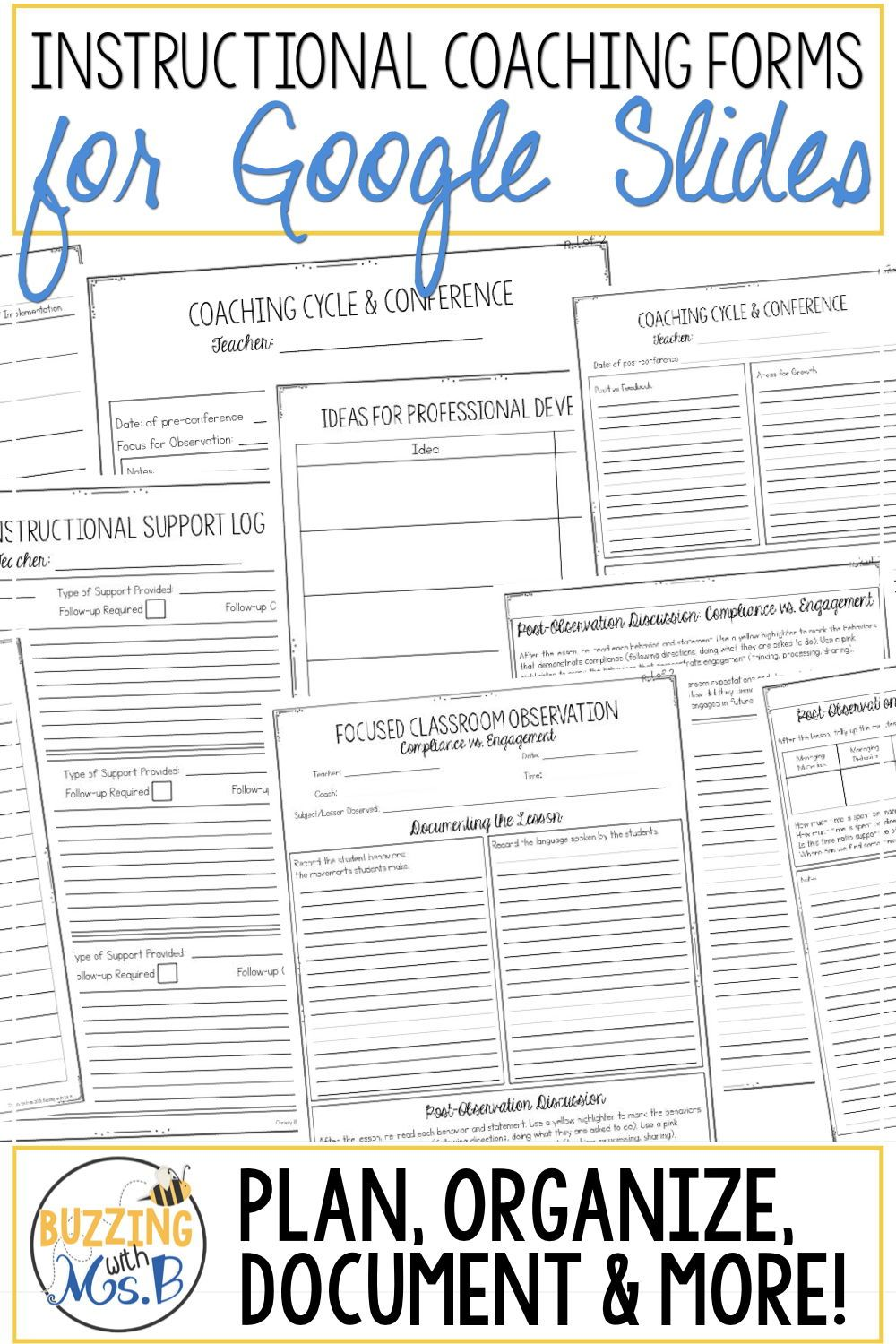 Instructional Coaching Forms Editable Pdfs And Google Slides In 2020 Instructional Coaching Forms Instructional Coaching Coaching