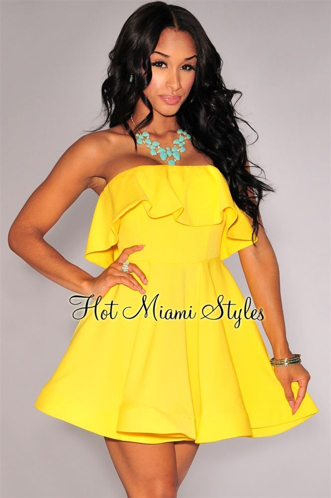 Yellow Strapless Flared Dress | Pleated