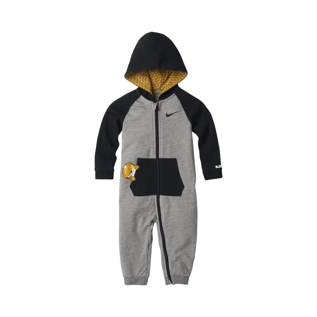 9d639632d85a LeBron Little Big Cats Infant Toddler Hooded Coverall Size 18M (Dark Grey  Heather)