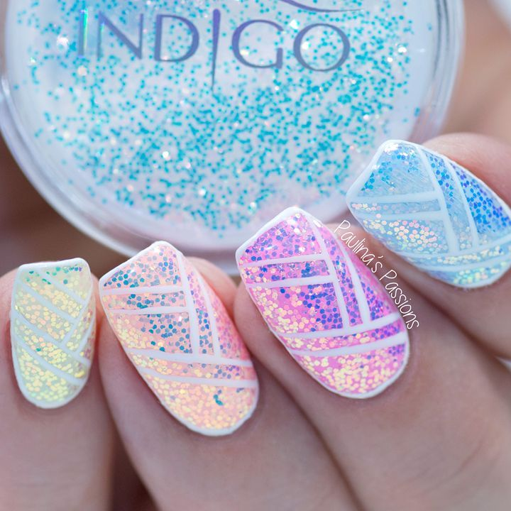 iridescent nails with pixel effect
