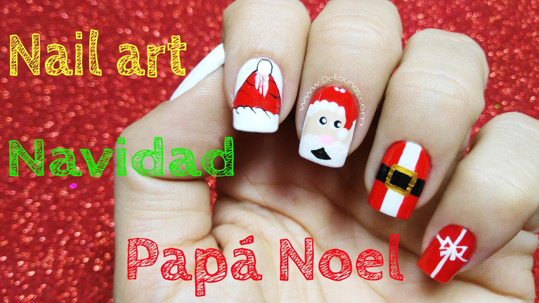 Decoración De Uñas Navidad Papa Noel Christmas Nail Art Santa Claus Uñas Navidad Dar En El Clavo Manicuras Para Navidad