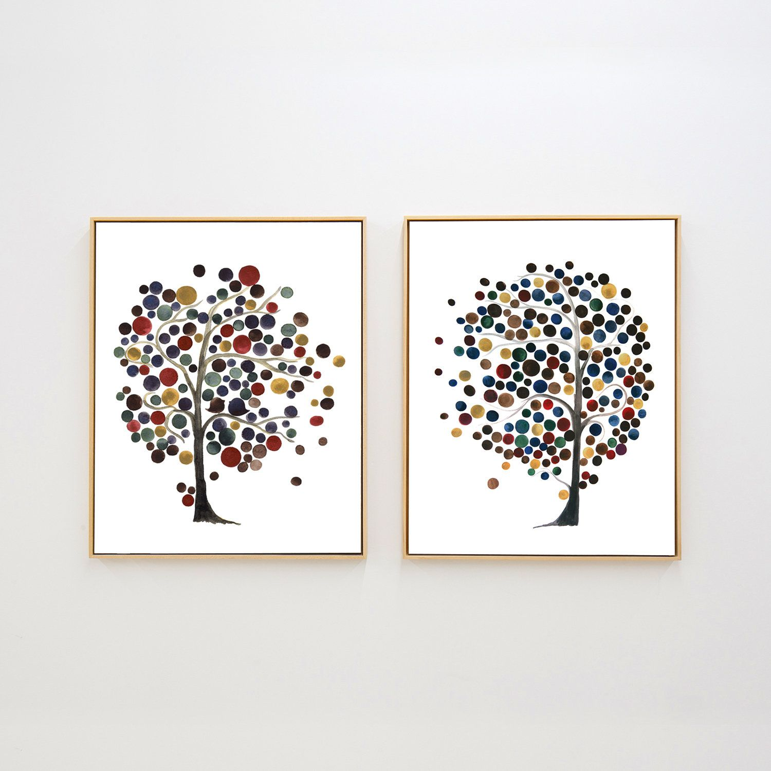 Abstract Wall Art Abstract Art Prints Set Of 2 Watercolor Tree