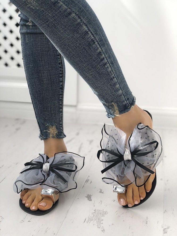 fb962aa9e6a32e Fashion Cute Big Bow Tie Sandals Non Slip Flat Sandals