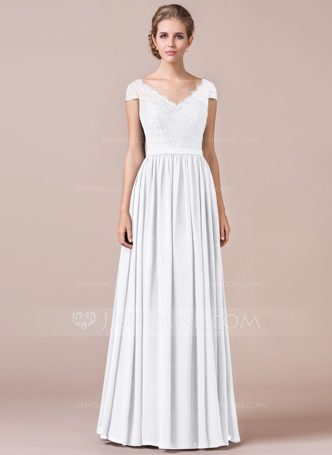 Aline cap sleeve floorlength chiffon bridesmaid dress with lace