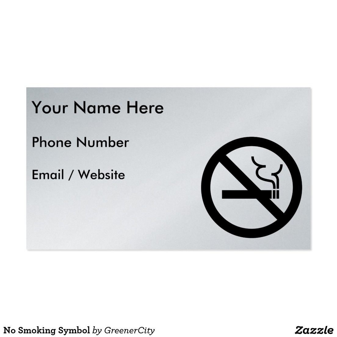 No Smoking Symbol Business Card | Business cards, Symbols and Business