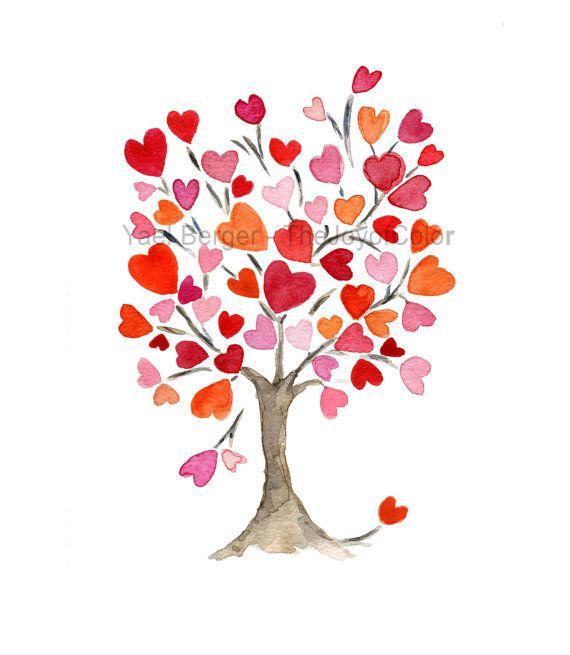 Wedding Tree Watercolor Clipart: Hearts Tree Art Print, Personalized Art Print, Hearts Tree