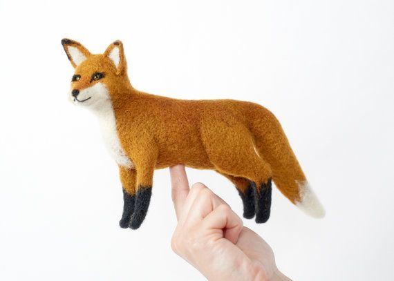 Needle Felted Fox van PetitFelts op Etsy