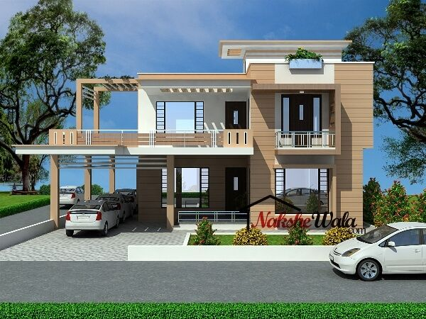 99124bhk duplex house design house elevation for Types of duplex houses