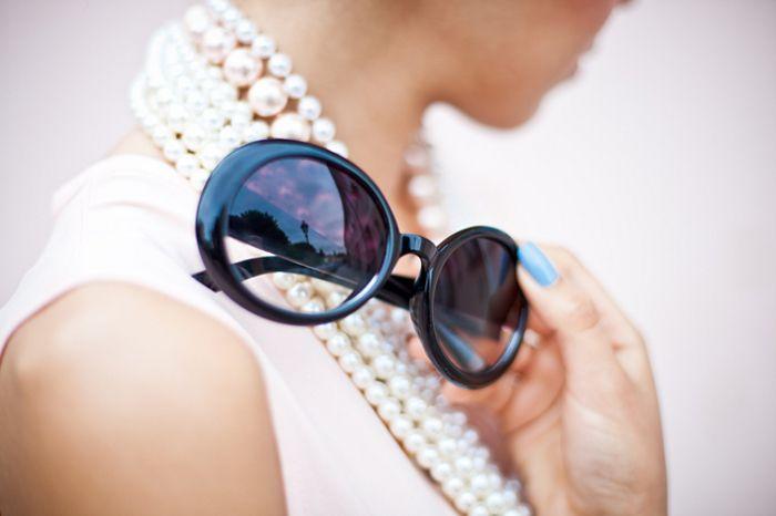 Pearls and Jackie O glasses...enough said.