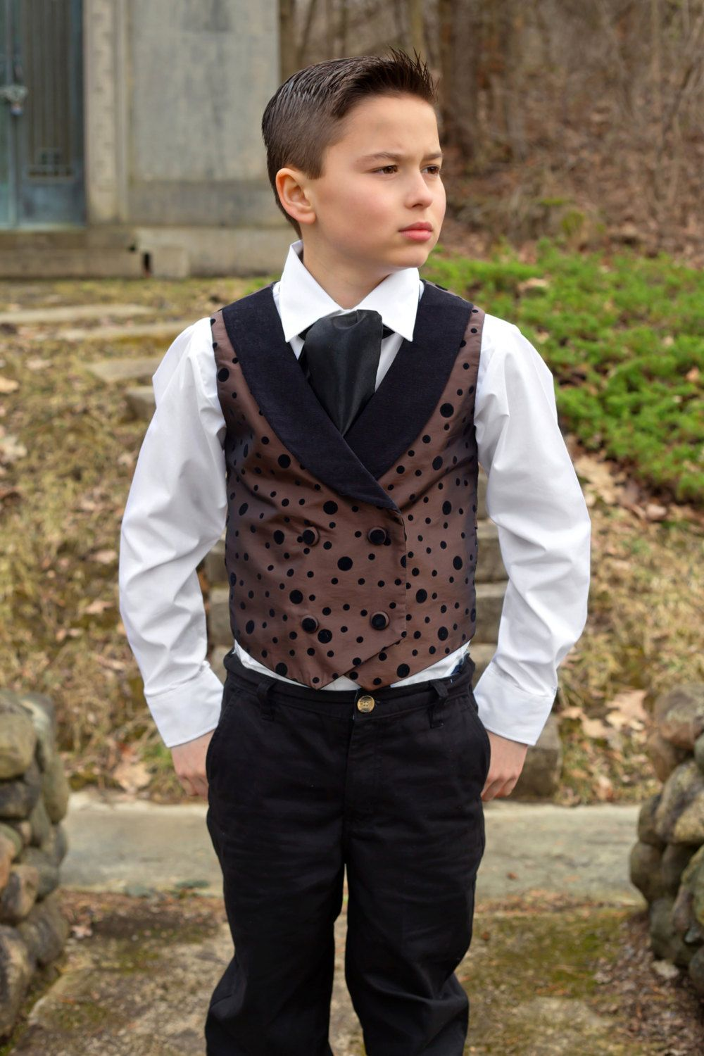 monochrome waistcoat boys vests made to order age 6 months to age 4 Viking waistcoat boys wedding outfit specail occasion