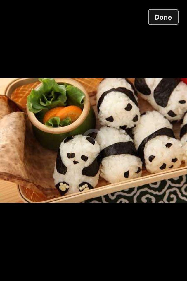 Kids food   Panda food. Sweet sushi. Panda sushi
