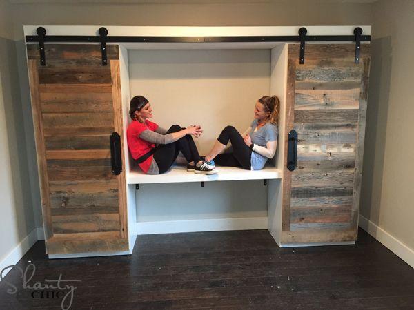 Diy Sliding Barn Door Hidden Study With Images Diy Sliding