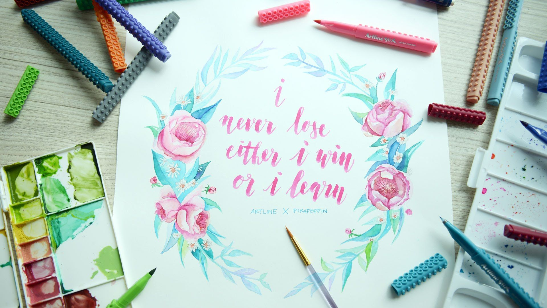 Artline class : flower wreath watercolour pikapoppin calligraphy
