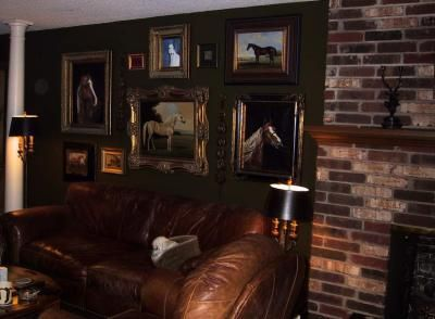 Now this is what I'm talking about! Leather, brick, horses, comfortable looking....think old Kentucky, brandy and cigars. I need more pictures like this one!