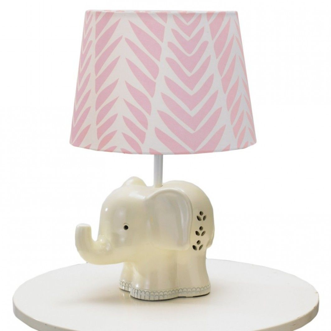 U003cpu003eThe White Elephant Base With Pink Palm Print Shade Lamp Is The Ideal
