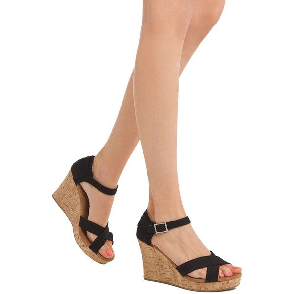 be76d5618bd TOMS Strappy Wedge Sandals - Black Canvas ( 69) ❤ liked on Polyvore  featuring shoes