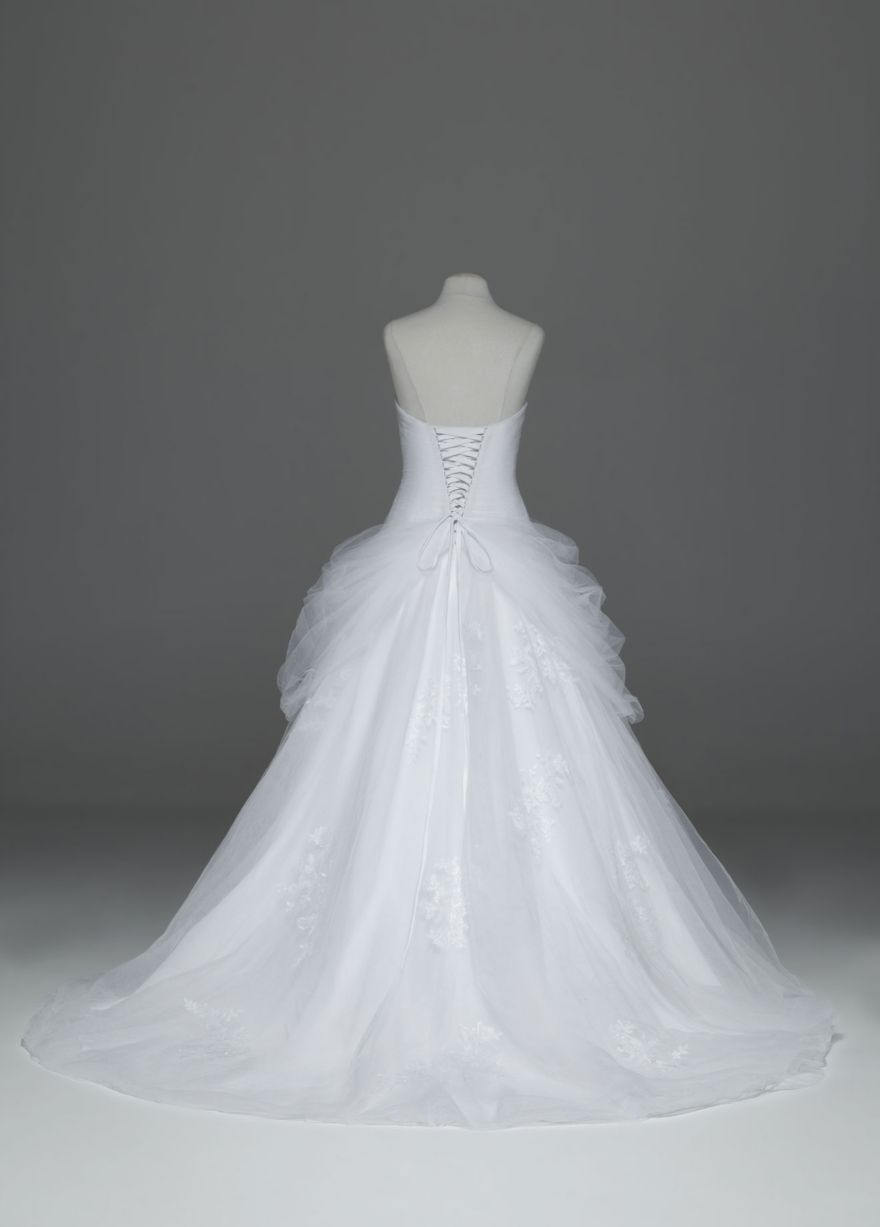 Tulle Ball Gown with Lace-Up Back and Side Swags - David\'s Bridal ...