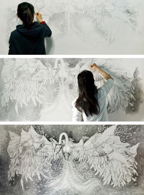 Alice Lin's whimsical drawing  Alice Lin | on Tumblr (b.1980, China) - Faramita 彼岸. Canson drawing paper, pencil, 83x41 inches (2014)  Alice Lin is a freelance artist, painter, illustrator and 3D Effects Artist working and living in Beijing. She has been studying calligraphy, Chinese painting and classical poetry since she was a child. Mixing the watercolor and the traditional Chinese painting techniques, Alice Lin creates a unique, fanciful and whimsical world full of details.
