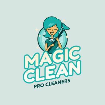 Professional Cartoon House Cleaning Logos (With images