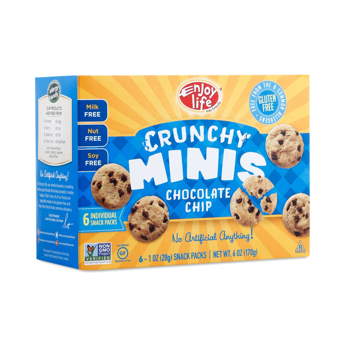 Enjoy Life Crunchy Minis Chocolate Chip Cookies are gluten-free, dairy-free, satisfyingly crunchy, and studded with chocolate chips.