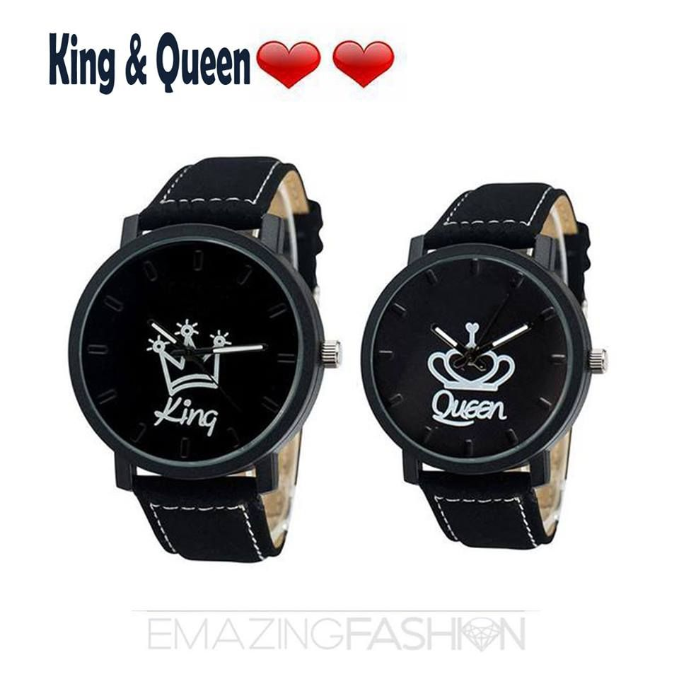 6dd95b72e967 King and Queen Couples Goals Matching Watch Set Unisex