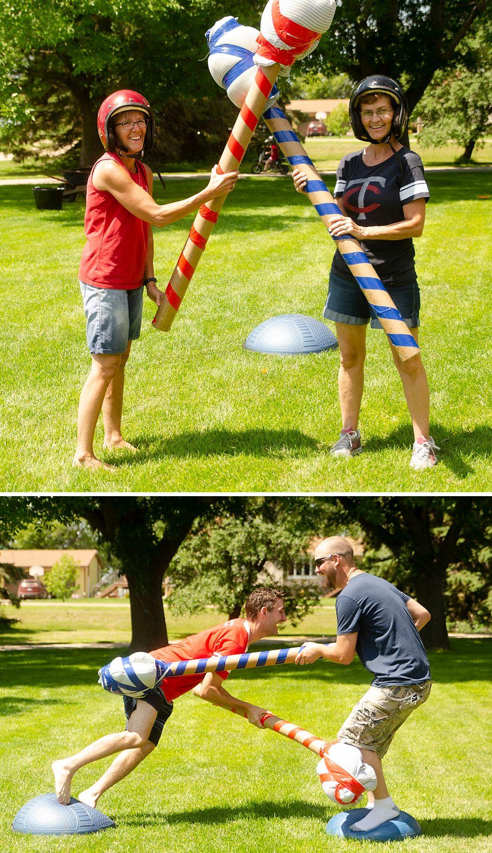 Homemade Backyard Gladiator Jousting Game at Family Summer ...
