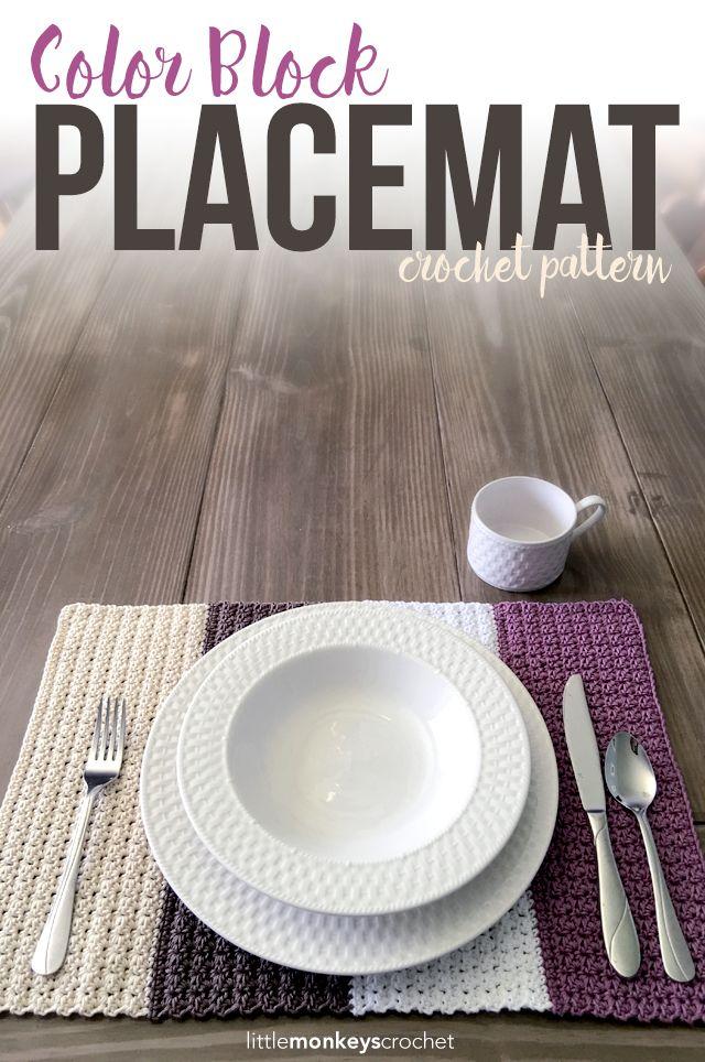 Color Block Placemat | Häkeln, Handarbeiten und Häckeln
