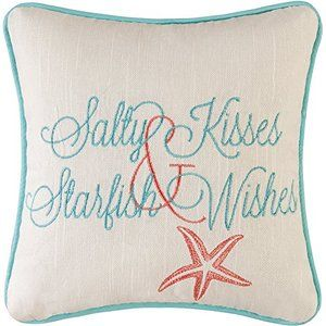 "10"" Embroidery Pillow, Salty Kisses Starfish"