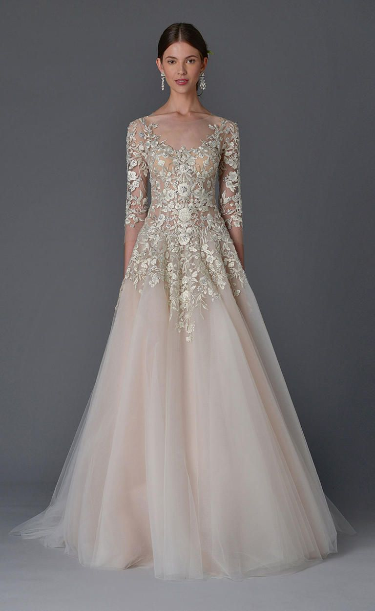 See marchesa 39 s seriously romantic wedding dresses for for 3 4 sleeve ball gown wedding dress