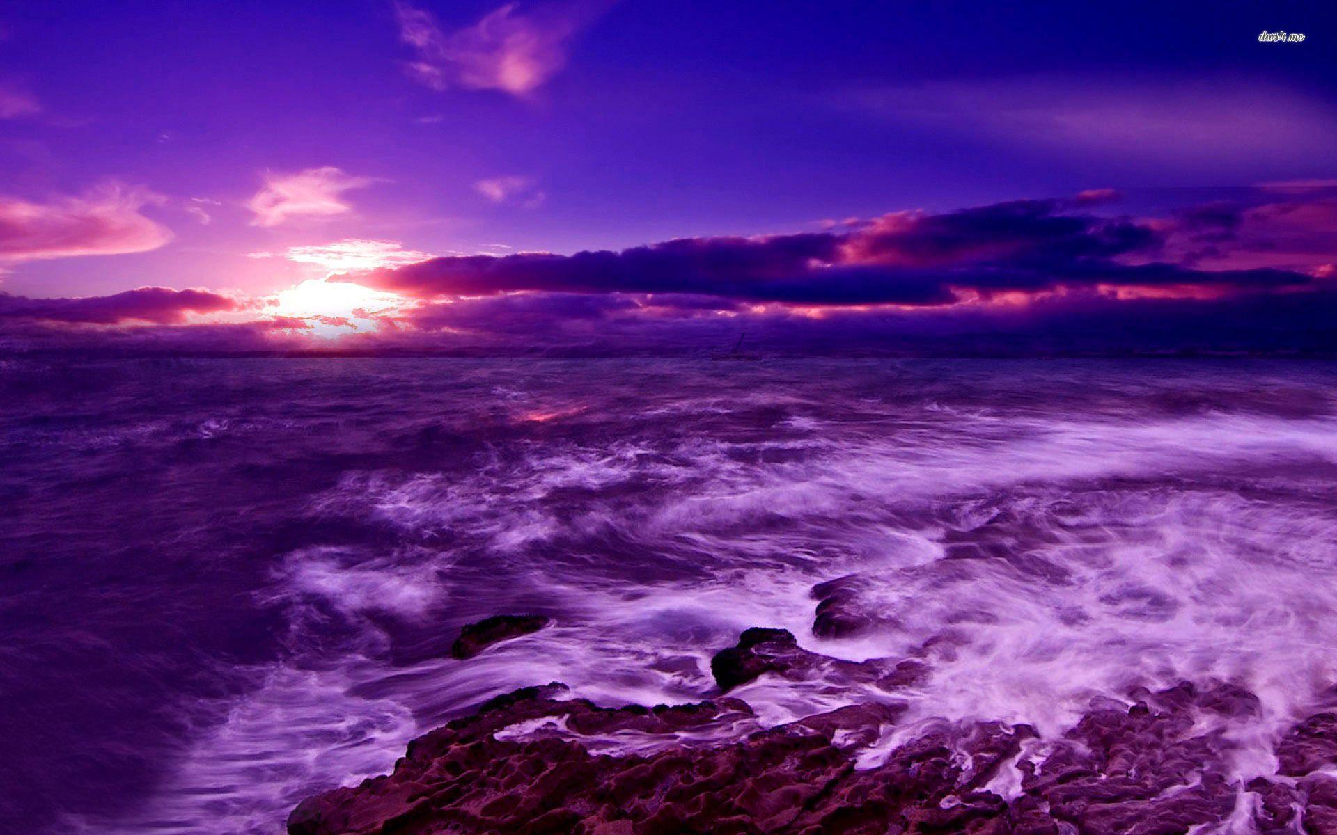 Purple Sunset Over The Sea Hd Wallpaper Beach Sunset Wallpaper Beach Wallpaper Sunset Wallpaper