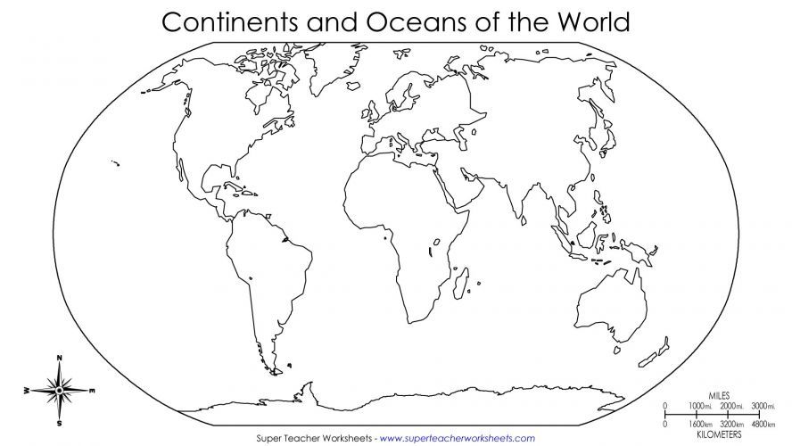 Printable Blank Map Of The World For Kids
