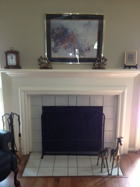 Old House Fireplace With One Row Of Tile Around It And Three On The Floor In Front Smaller Tile Also Mantel Is Painted In Trim C New Homes Small Tiles House