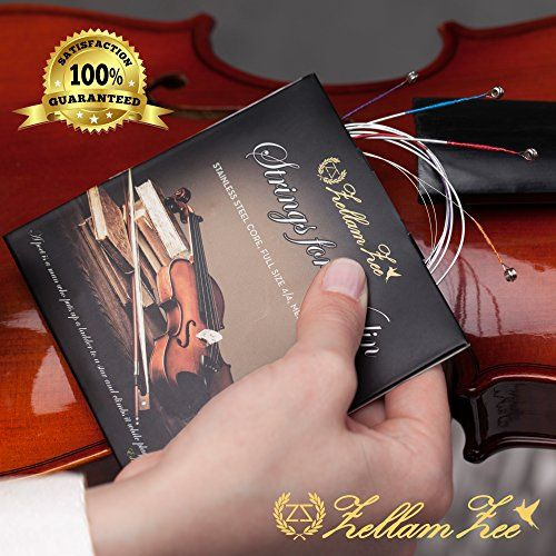 Violin+Strings+3+4+and+4+4+Size,+excellent+choice+for+beginners,+G-D-A-E,+Ball+End,+Medium+tension+provided+by+ZellamZee