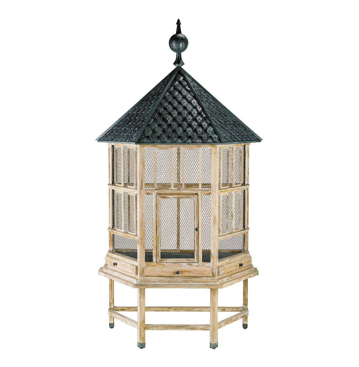 Antique White Tin Roof Floor Standing Large Bird House Cage Aviary ...