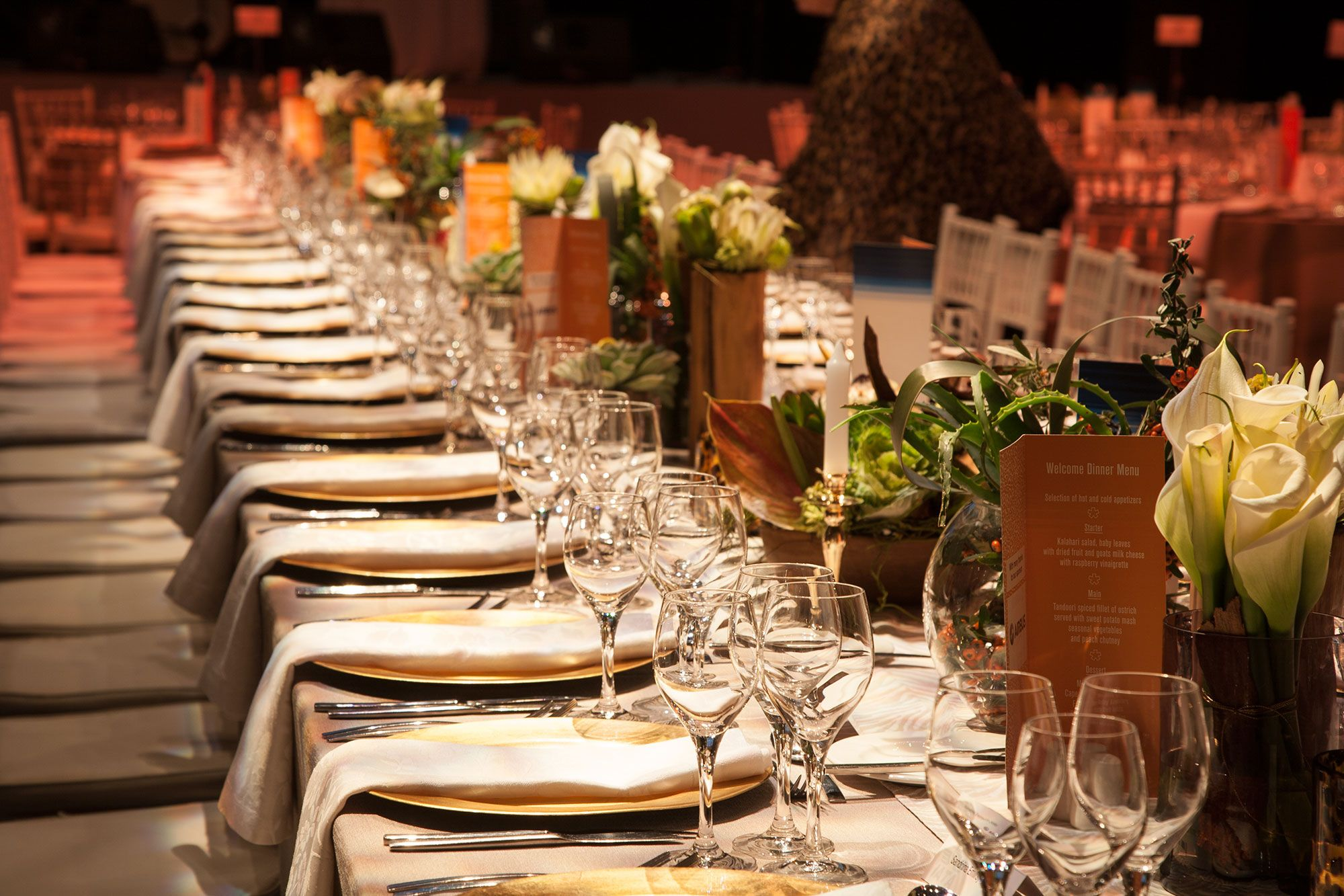 The Vip Table Of Airbus Gala Dinner Was Set Out As A Long