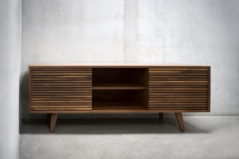 60 Solid Black Walnut Media Console Credenza Cabinet Etsy Credenza Media Console Mid Century Furniture
