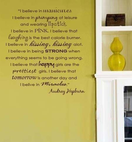 Wall Decal Audrey Hepburn I BELIEVE vinyl by decorexpressions ...