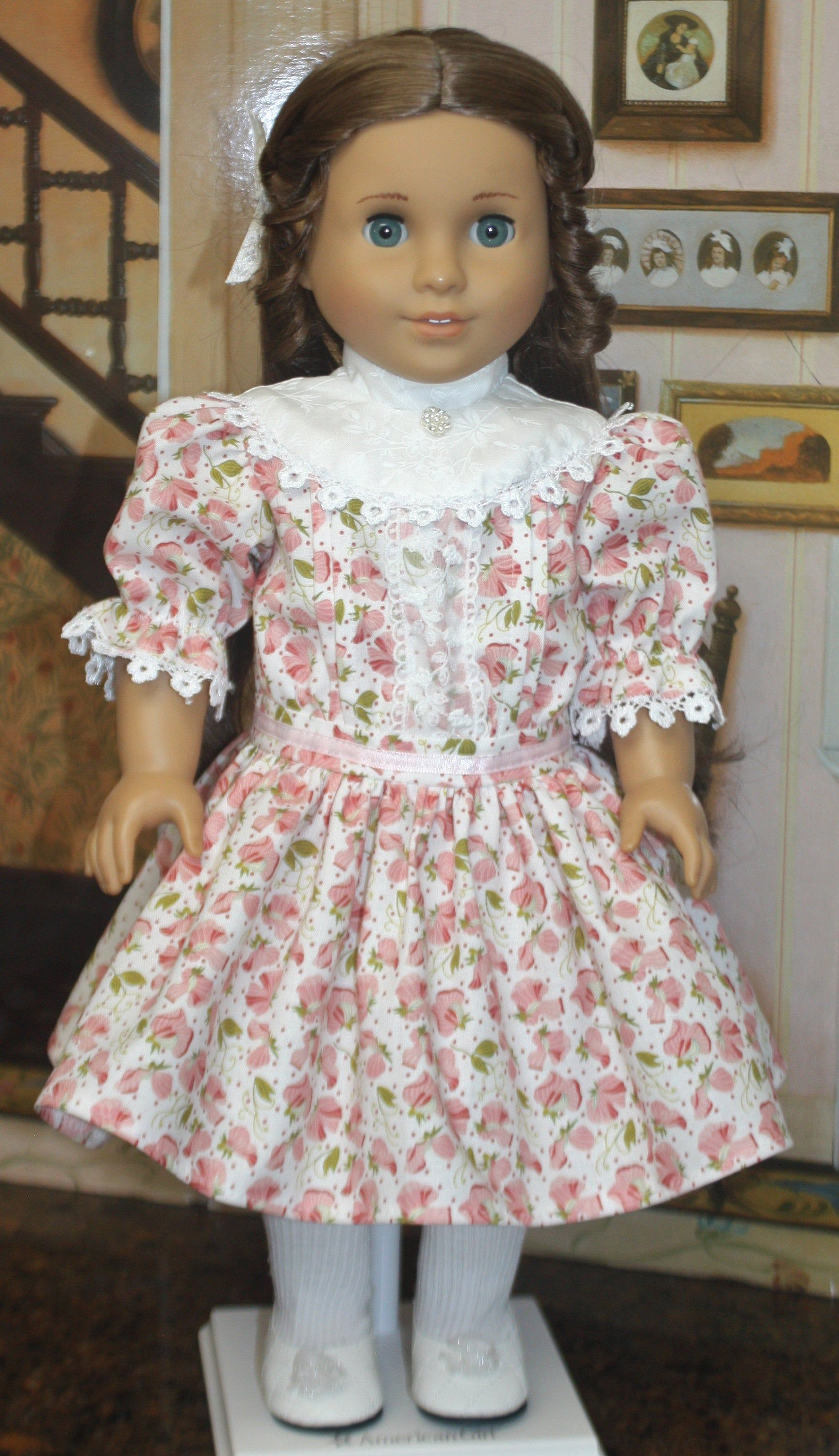 American Girl Style Edwardian Tuck Dress in Pink Floral #americangirlhouse