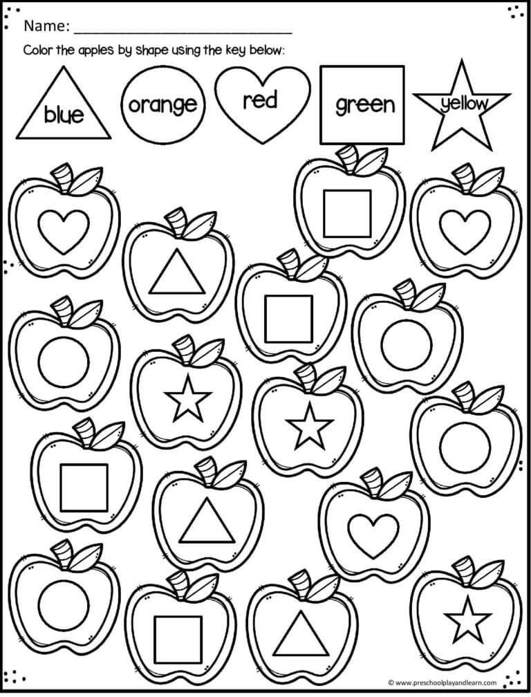 Apple printables to help kids learning shapes Preschool