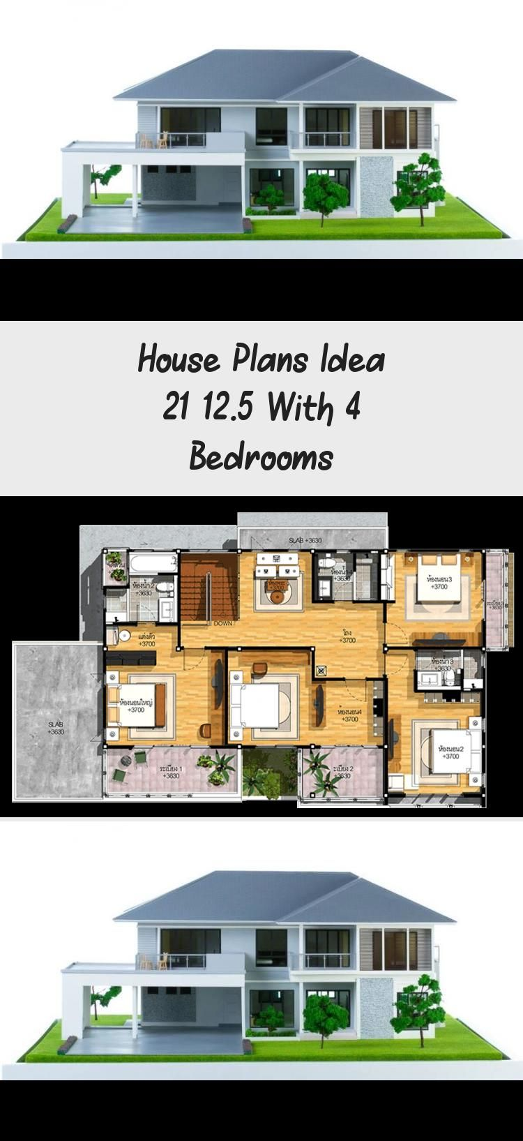 House Plans Idea 21x12 5 With 4 Bedrooms Home Ideassearch Floorplans1800sqft Countryfloorplans Simplefl In 2020 House Plans Country Floor Plans Modern Floor Plans