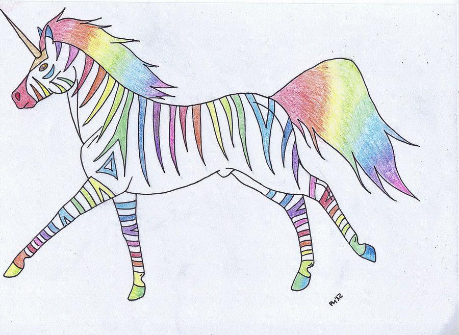 Rainbow Unicorn Zebra by on