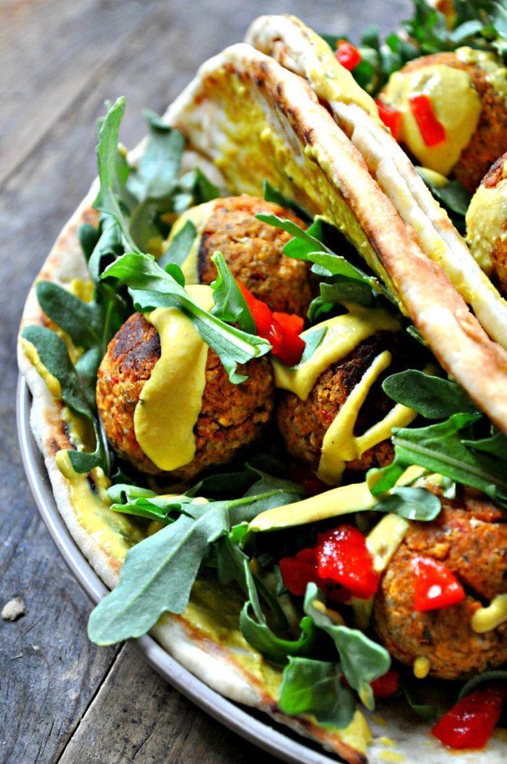 Vegan Moroccan Meatball Pitas