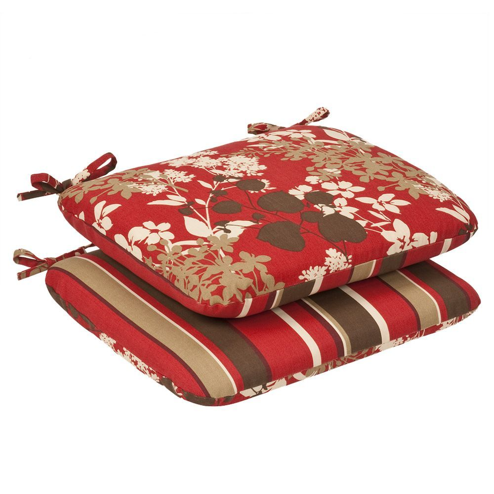 Squared Pillow Perfect Indoor//Outdoor Red//Brown Floral//Striped Reversible Chair Cushion