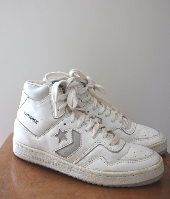 cd52569284b5c0 Vintage 80s Converse Star Tech White Leather Basketball Hi Shoes ...