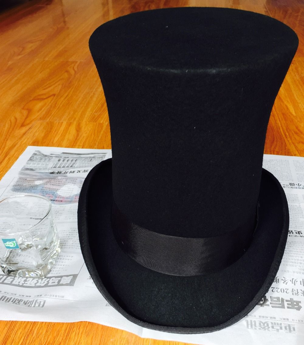 25cm 9 8 Inch Steampunk Mad Hatter Top Hat Victorian Vintage Traditional Wool Fedoras Hat Millinery Magician Hat Trick In Fedoras From Men S Clothing
